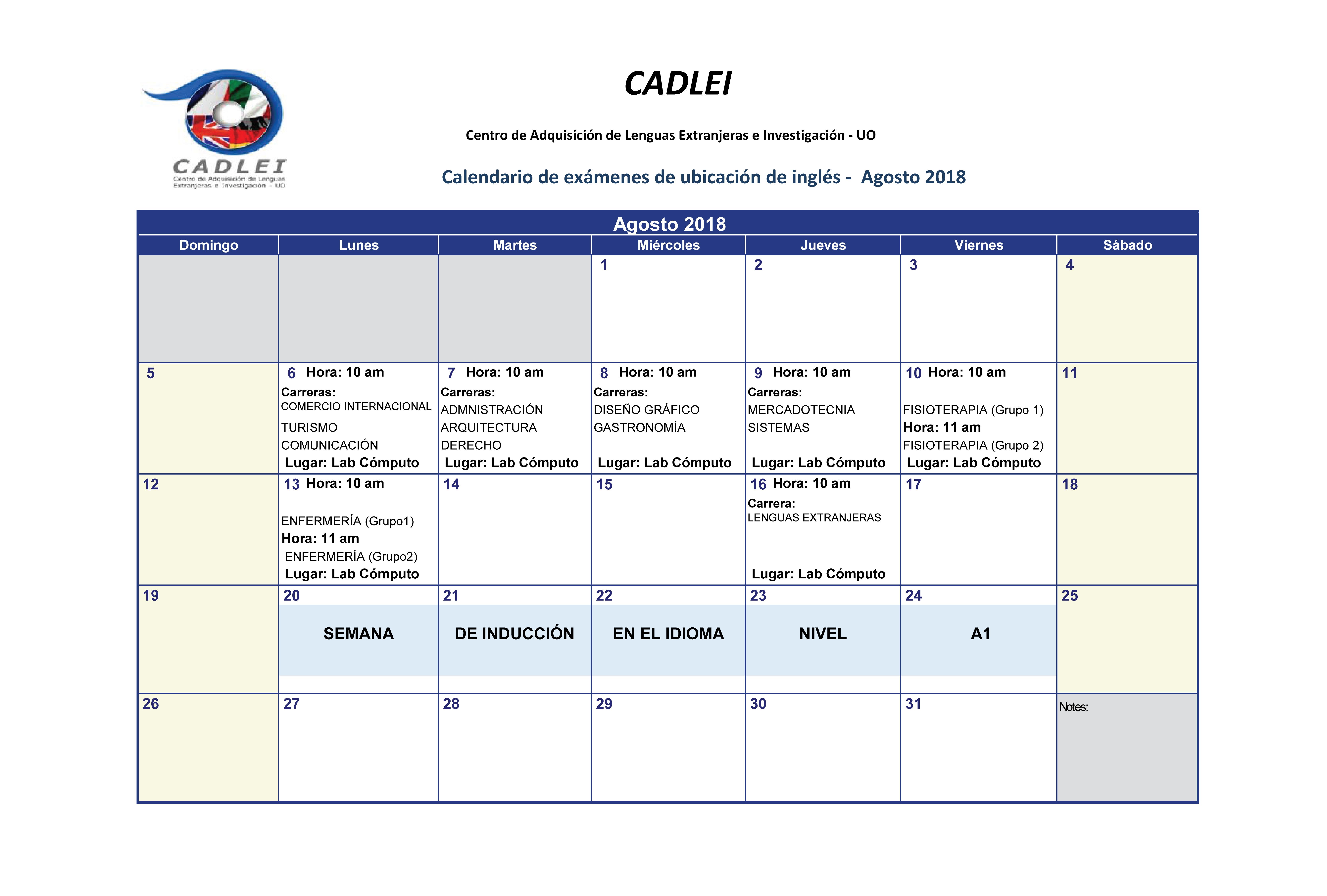 Calendario De Examenes.Calendario De Examenes De Ubicacion 2018 Universidad De Oriente